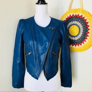 Free People Faux Leather Blue Crop Moto Jacket S